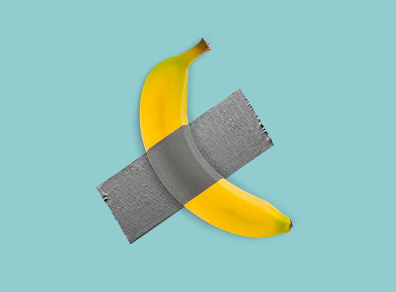 Illustration de tendance desgin avec une banane scothée