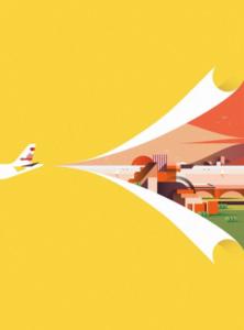 Un visuel d'avion à dominance orange.