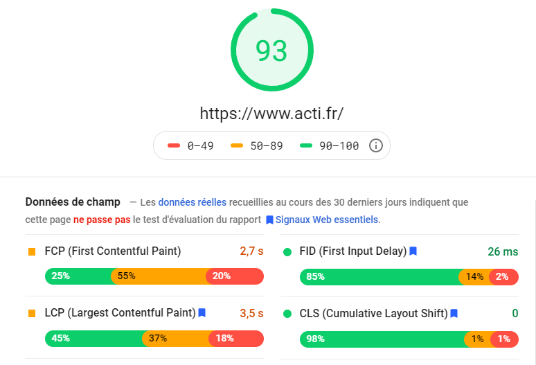 Capture de Page Speed Insights