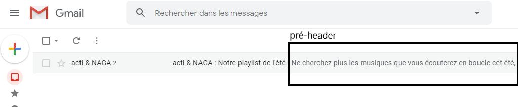 Une capture d'écran de Gmail